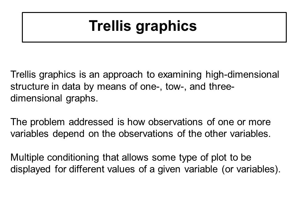 multivariate data Trellis graphics Trellis graphics is an approach to examining high-dimensional structure in data by means of one-, tow-, and three- dimensional graphs.