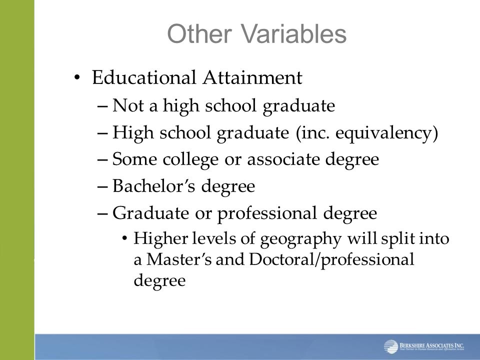 Other Variables Educational Attainment – Not a high school graduate – High school graduate (inc.