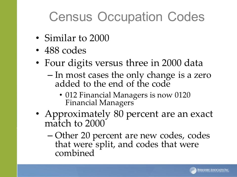 Census Occupation Codes Similar to 2000 488 codes Four digits versus three in 2000 data – In most cases the only change is a zero added to the end of the code 012 Financial Managers is now 0120 Financial Managers Approximately 80 percent are an exact match to 2000 – Other 20 percent are new codes, codes that were split, and codes that were combined