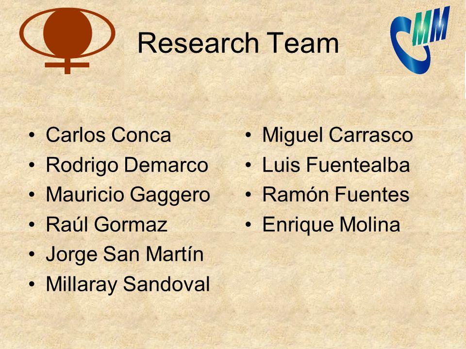 Research Team Carlos Conca Rodrigo Demarco Mauricio Gaggero Raúl Gormaz Jorge San Martín Millaray Sandoval Miguel Carrasco Luis Fuentealba Ramón Fuent