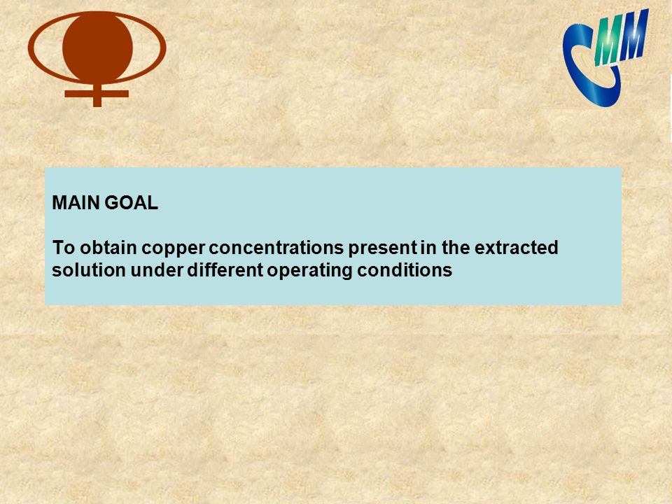MAIN GOAL To obtain copper concentrations present in the extracted solution under different operating conditions
