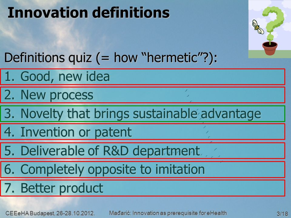 Innovation definitions Definitions quiz (= how hermetic ): 1.Good, new idea 2.New process 3.Novelty that brings sustainable advantage 4.Invention or patent 5.Deliverable of R&D department 6.Completely opposite to imitation 7.Better product CEEeHA Budapest, 26-28.10.2012.
