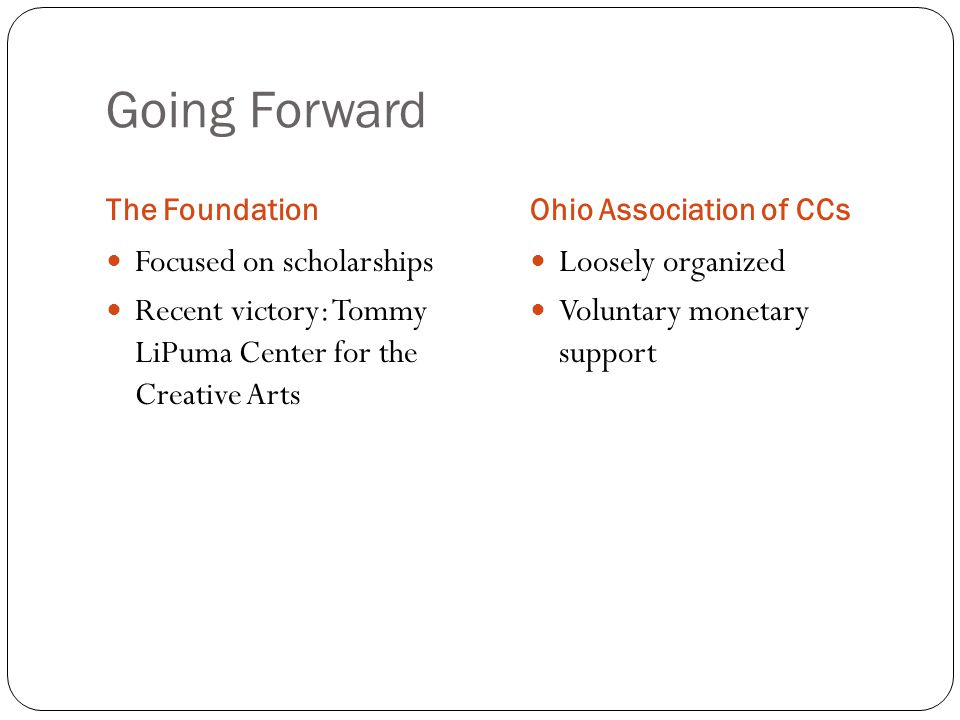 Going Forward The FoundationOhio Association of CCs Focused on scholarships Recent victory: Tommy LiPuma Center for the Creative Arts Loosely organize