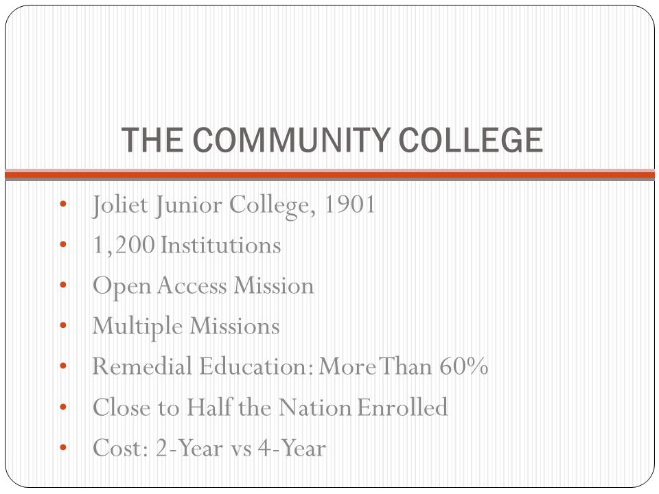 THE COMMUNITY COLLEGE Joliet Junior College, 1901 1,200 Institutions Open Access Mission Multiple Missions Remedial Education: More Than 60% Close to
