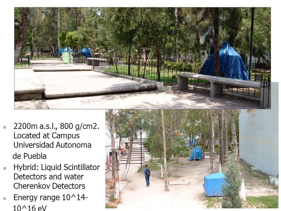 2200m a.s.l., 800 g/cm2. Located at Campus Universidad Autonoma de Puebla Hybrid: Liquid Scintillator Detectors and water Cherenkov Detectors Energy r