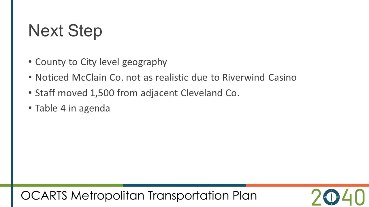 Next Step County to City level geography Noticed McClain Co. not as realistic due to Riverwind Casino Staff moved 1,500 from adjacent Cleveland Co. Ta