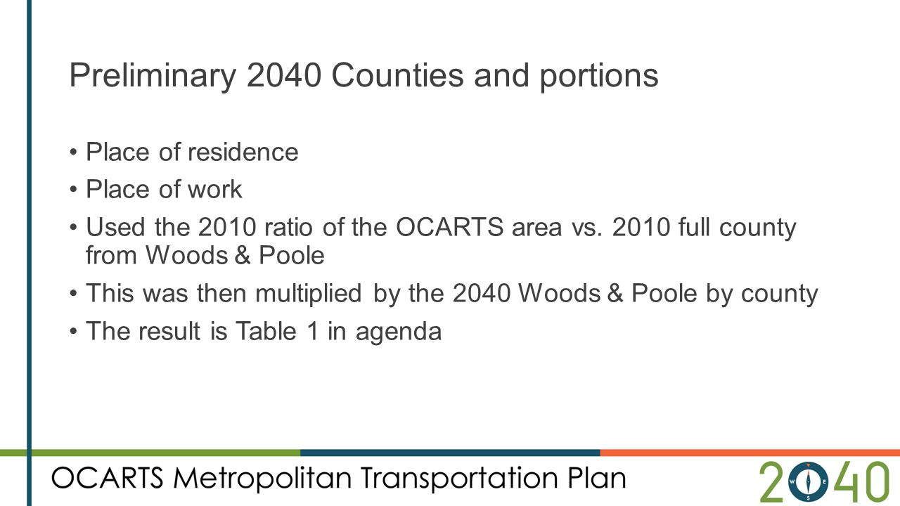 Preliminary 2040 Counties and portions Place of residence Place of work Used the 2010 ratio of the OCARTS area vs. 2010 full county from Woods & Poole