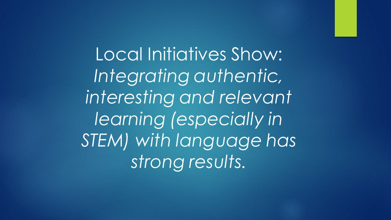 From NSTA's Learning Center, a community of over 450,000 educators each year, we hear real stories of promise, practice and problems: High emphasis on testing--only the middle students get attention Lack of facilities to do authentic (STEM) learning safely (especially for students with limited language facility) Little access to information on cultural differences Examples: Reluctance to participate in scientific argumentation Cultural traditions that may conflict with scientific investigations No trade books that are culturally relevant Few culturally relevant role models or real historical background