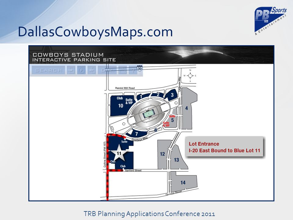 DallasCowboysMaps.com TRB Planning Applications Conference 2011
