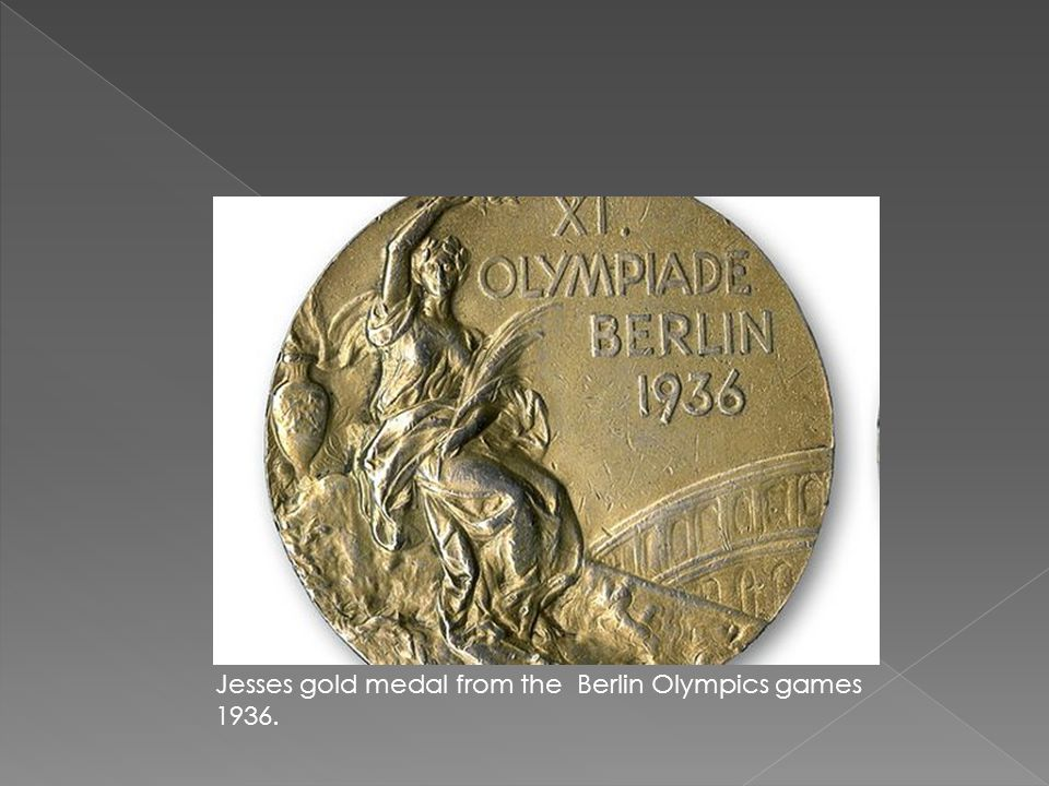 Jesses gold medal from the Berlin Olympics games 1936.