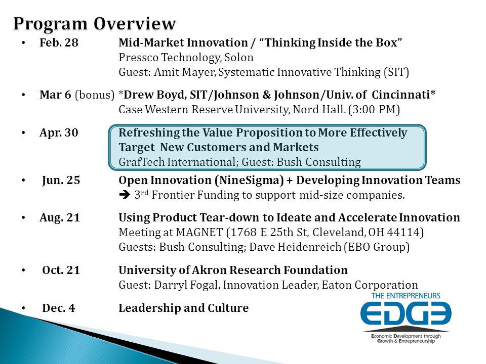 "Feb. 28 Mid-Market Innovation / ""Thinking Inside the Box"" Pressco Technology, Solon Guest: Amit Mayer, Systematic Innovative Thinking (SIT) Mar 6 (bon"