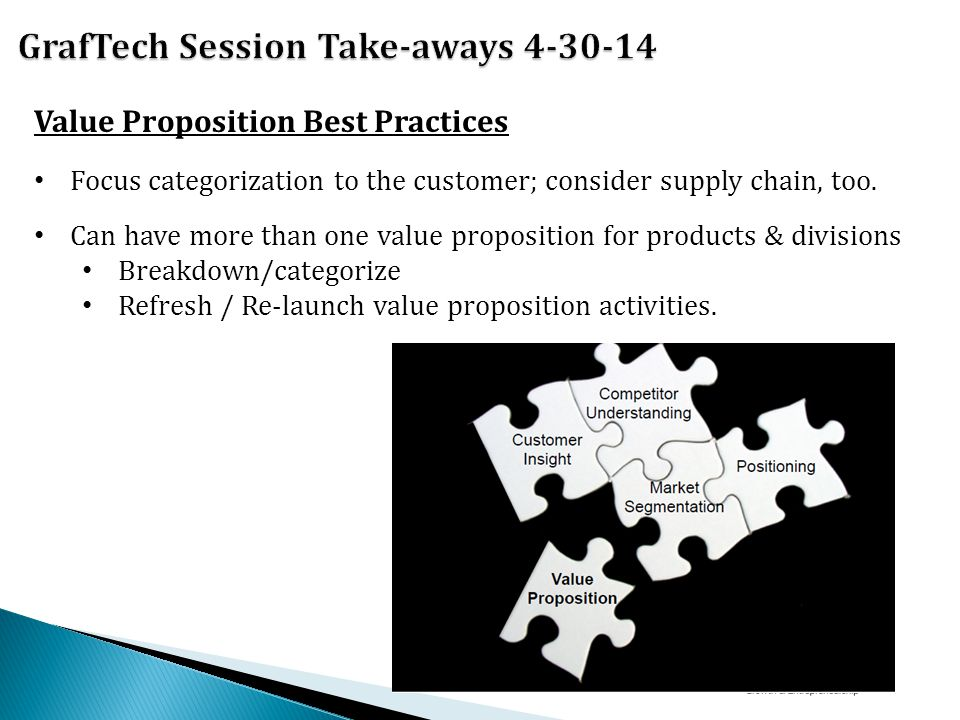 Value Proposition Best Practices Focus categorization to the customer; consider supply chain, too.