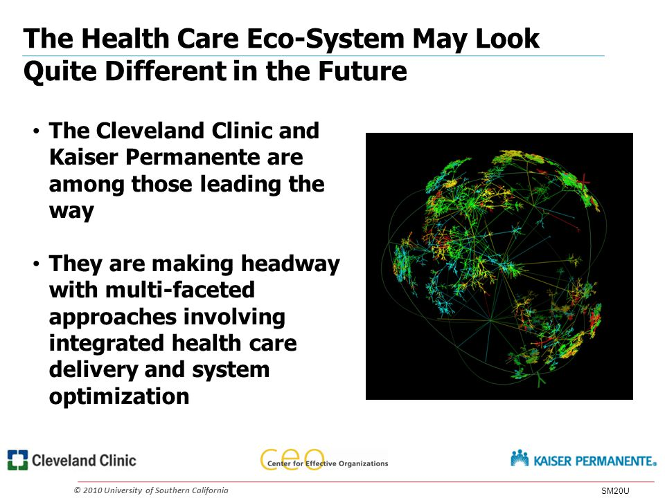 © 2010 University of Southern California The Health Care Eco-System May Look Quite Different in the Future The Cleveland Clinic and Kaiser Permanente