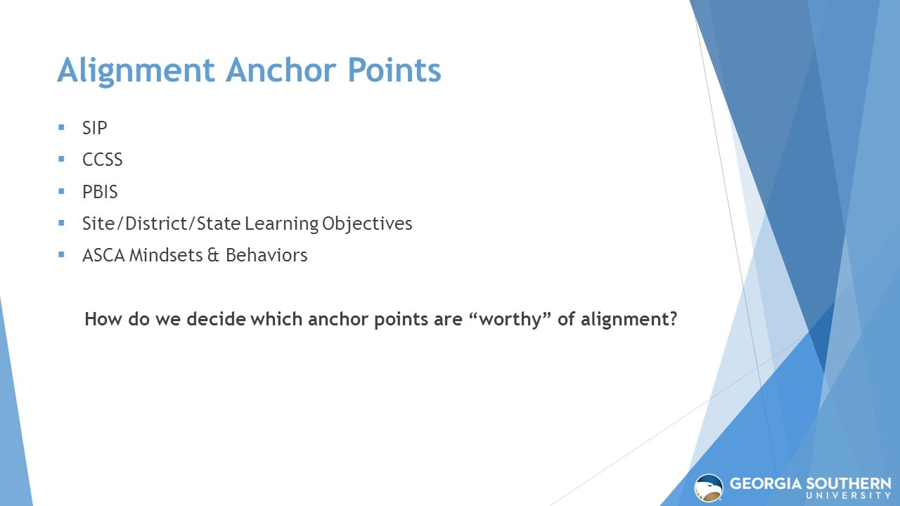 Alignment Anchor Points  SIP  CCSS  PBIS  Site/District/State Learning Objectives  ASCA Mindsets & Behaviors How do we decide which anchor points