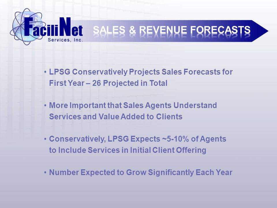 LPSG Conservatively Projects Sales Forecasts for First Year – 26 Projected in Total More Important that Sales Agents Understand Services and Value Added to Clients Conservatively, LPSG Expects ~5-10% of Agents to Include Services in Initial Client Offering Number Expected to Grow Significantly Each Year