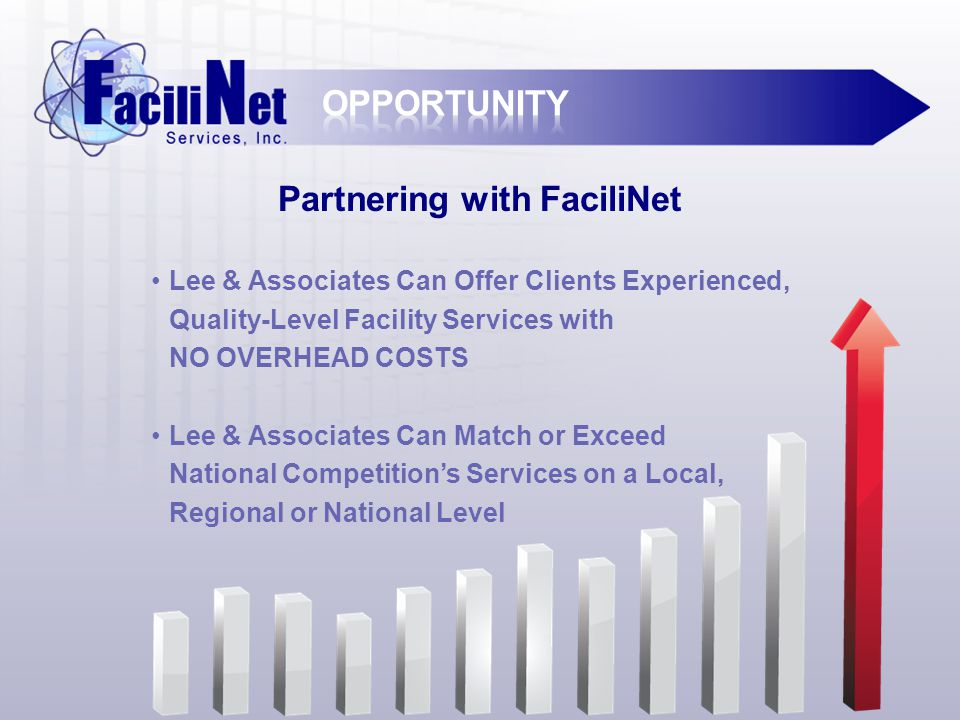Lee & Associates Can Offer Clients Experienced, Quality-Level Facility Services with NO OVERHEAD COSTS Lee & Associates Can Match or Exceed National Competition's Services on a Local, Regional or National Level Partnering with FaciliNet