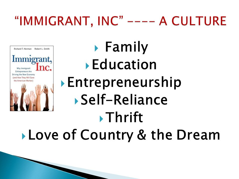  Family  Education  Entrepreneurship  Self-Reliance  Thrift  Love of Country & the Dream