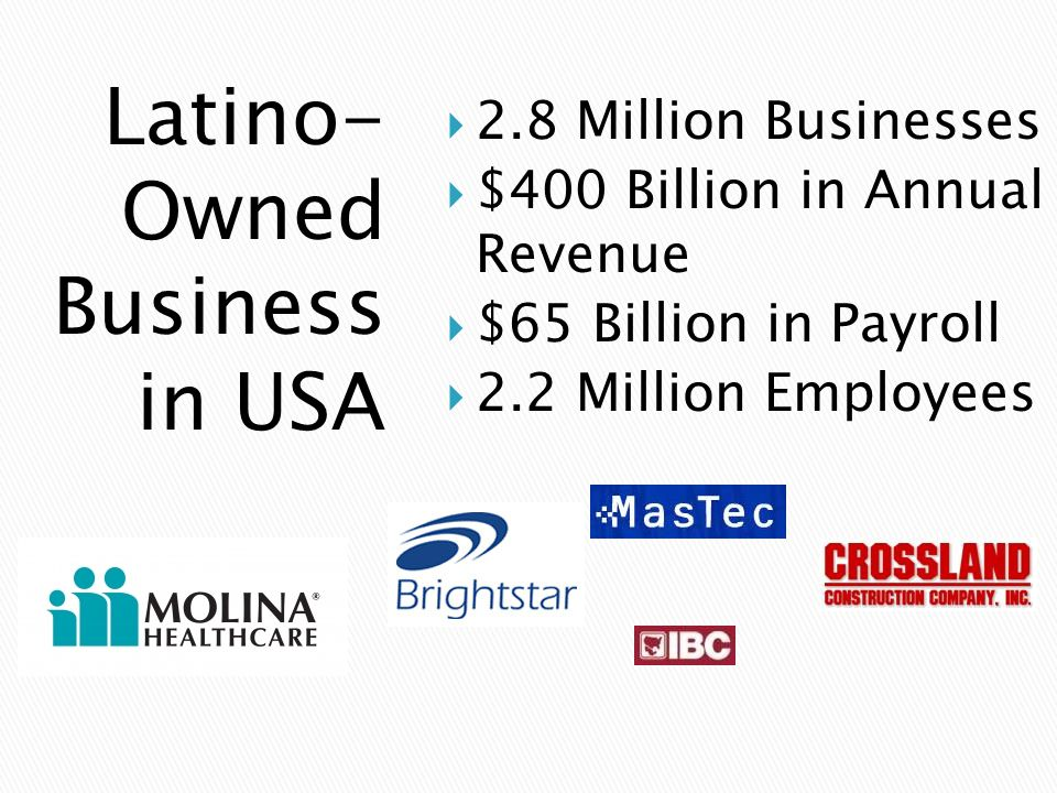 Latino- Owned Business in USA  2.8 Million Businesses  $400 Billion in Annual Revenue  $65 Billion in Payroll  2.2 Million Employees