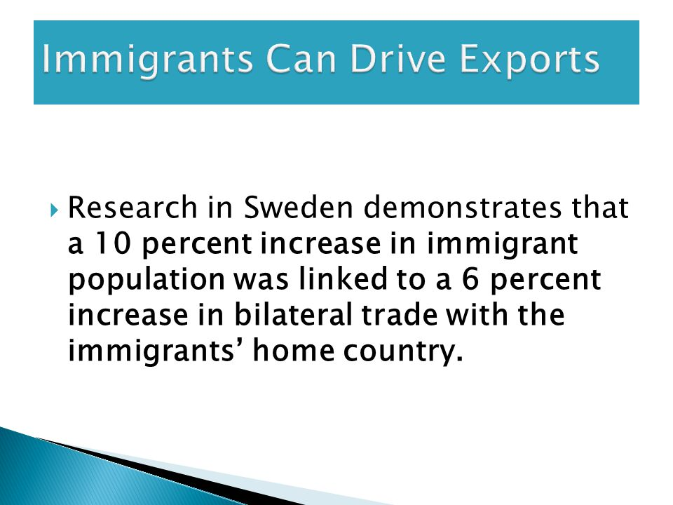  Research in Sweden demonstrates that a 10 percent increase in immigrant population was linked to a 6 percent increase in bilateral trade with the immigrants' home country.