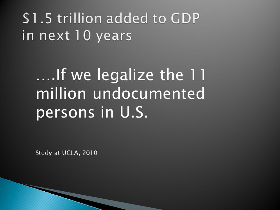 ….If we legalize the 11 million undocumented persons in U.S. Study at UCLA, 2010