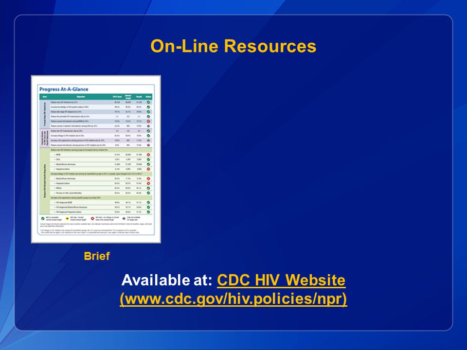 On-Line Resources Available at: CDC HIV Website (www.cdc.gov/hiv.policies/npr)CDC HIV Website (www.cdc.gov/hiv.policies/npr)
