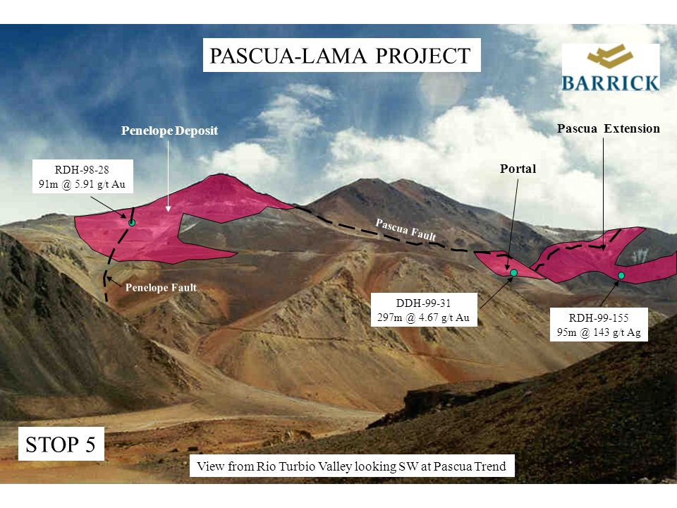 Penelope Deposit Portal Pascua Fault Penelope Fault Pascua Extension STOP 5 PASCUA-LAMA PROJECT View from Rio Turbio Valley looking SW at Pascua Trend