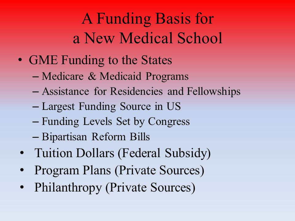 GME Funding to the States – Medicare & Medicaid Programs – Assistance for Residencies and Fellowships – Largest Funding Source in US – Funding Levels