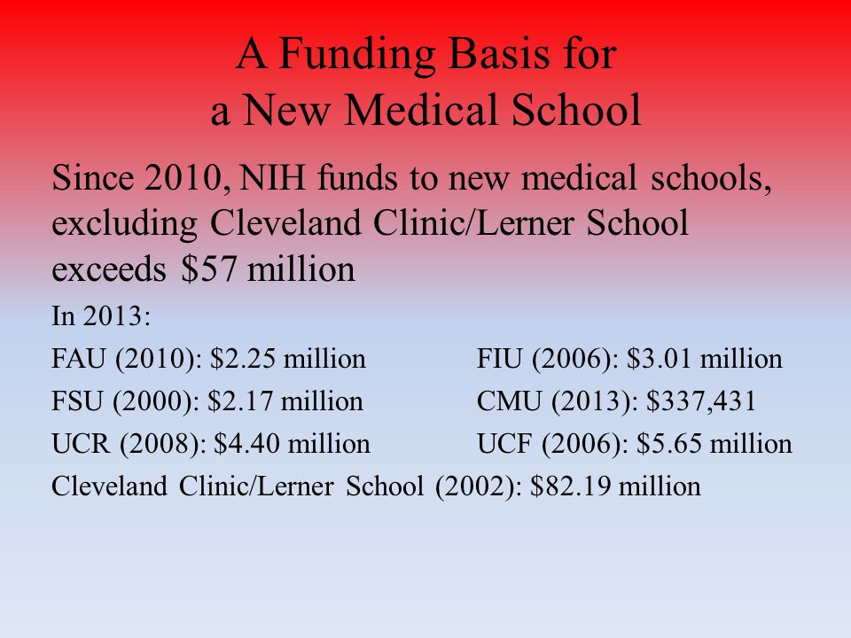 Since 2010, NIH funds to new medical schools, excluding Cleveland Clinic/Lerner School exceeds $57 million In 2013: FAU (2010): $2.25 millionFIU (2006): $3.01 million FSU (2000): $2.17 millionCMU (2013): $337,431 UCR (2008): $4.40 millionUCF (2006): $5.65 million Cleveland Clinic/Lerner School (2002): $82.19 million