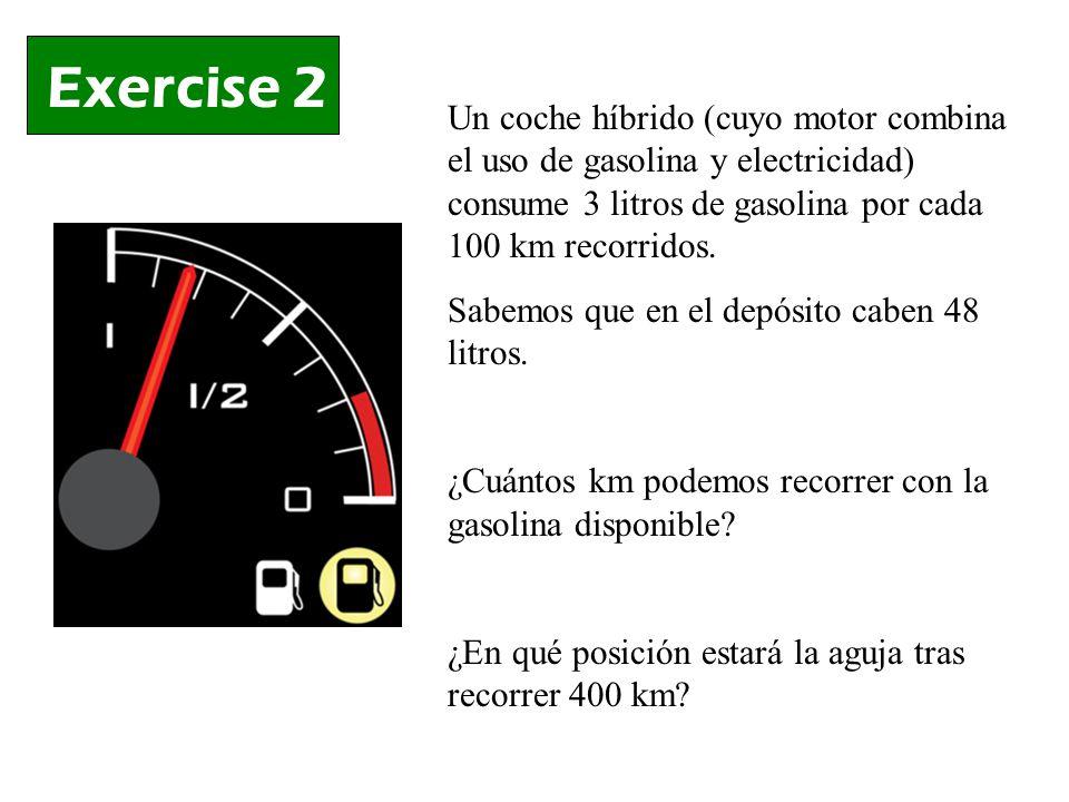 Exercise 2 Un coche híbrido (cuyo motor combina el uso de gasolina y electricidad) consume 3 litros de gasolina por cada 100 km recorridos.