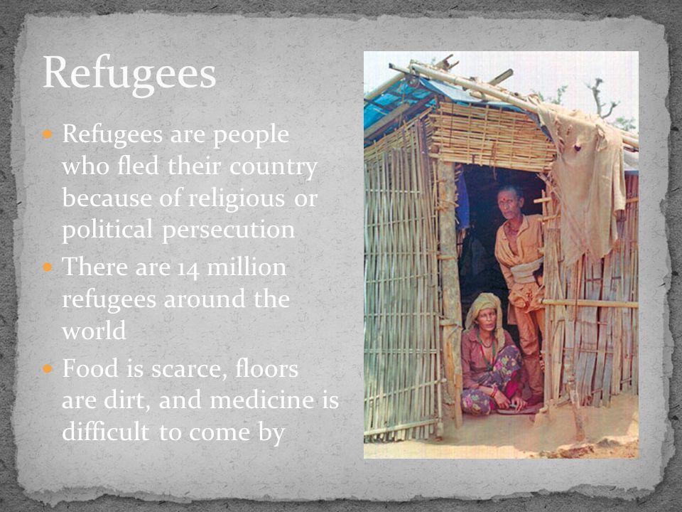 Refugees are people who fled their country because of religious or political persecution There are 14 million refugees around the world Food is scarce