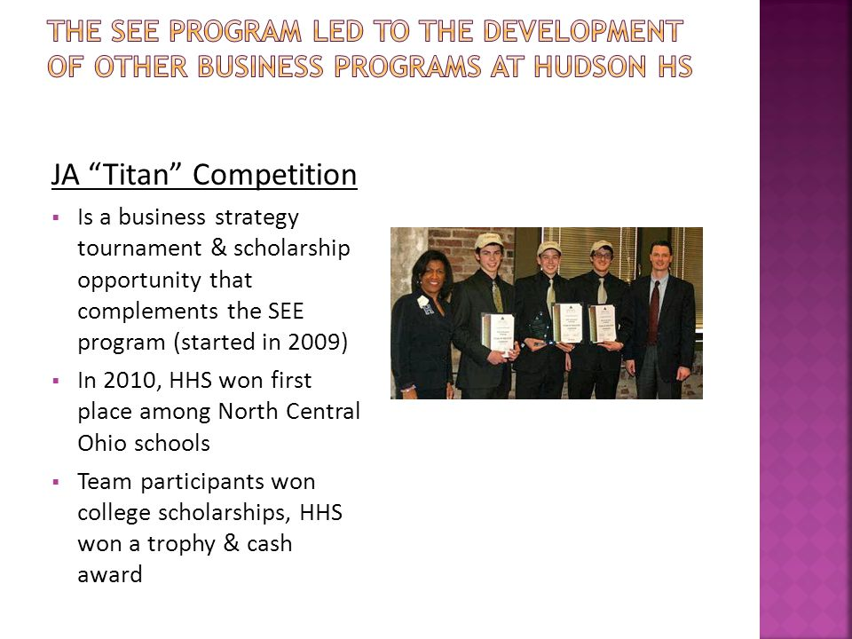JA Titan Competition  Is a business strategy tournament & scholarship opportunity that complements the SEE program (started in 2009)  In 2010, HHS won first place among North Central Ohio schools  Team participants won college scholarships, HHS won a trophy & cash award