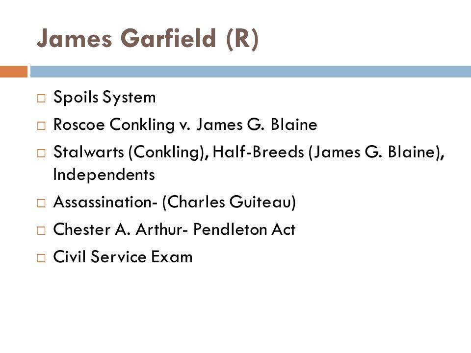 James Garfield (R)  Spoils System  Roscoe Conkling v.