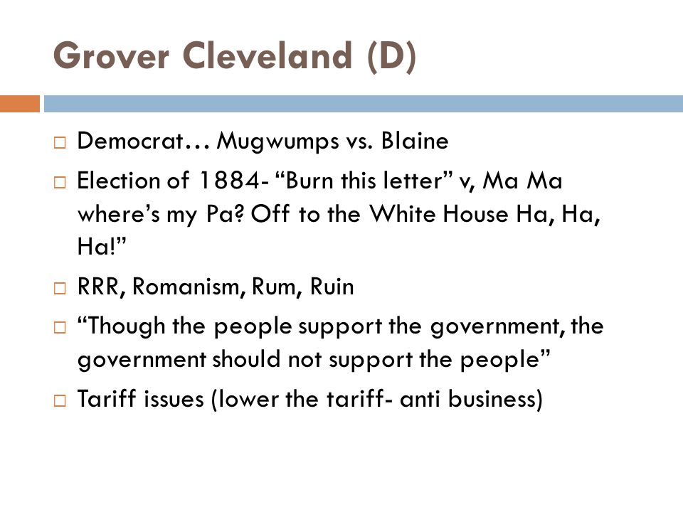 Grover Cleveland (D)  Democrat… Mugwumps vs.