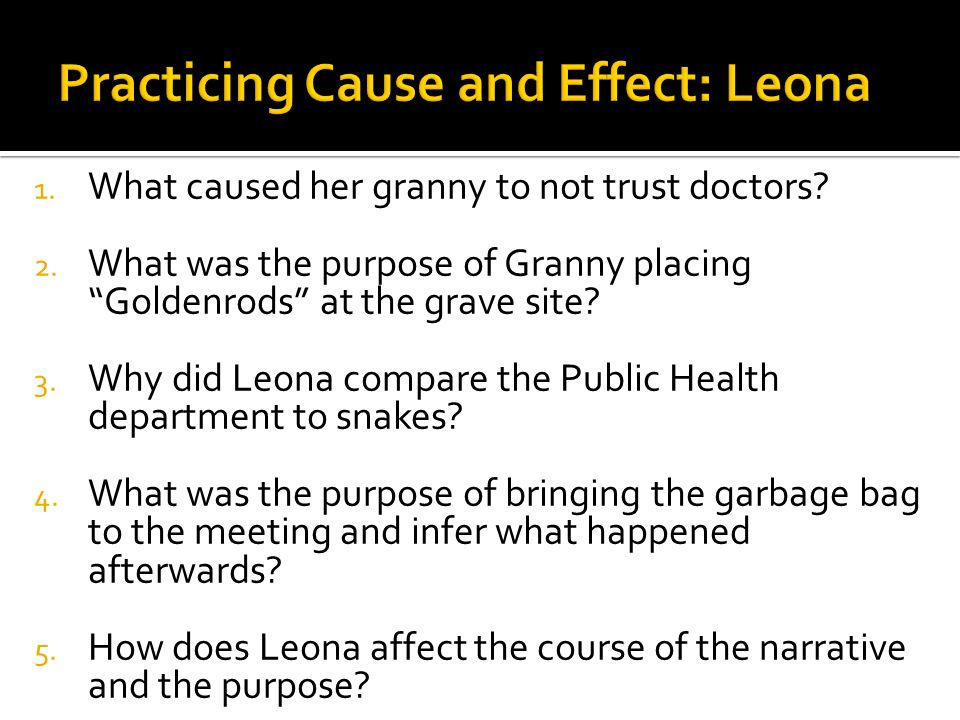"1. What caused her granny to not trust doctors? 2. What was the purpose of Granny placing ""Goldenrods"" at the grave site? 3. Why did Leona compare the"