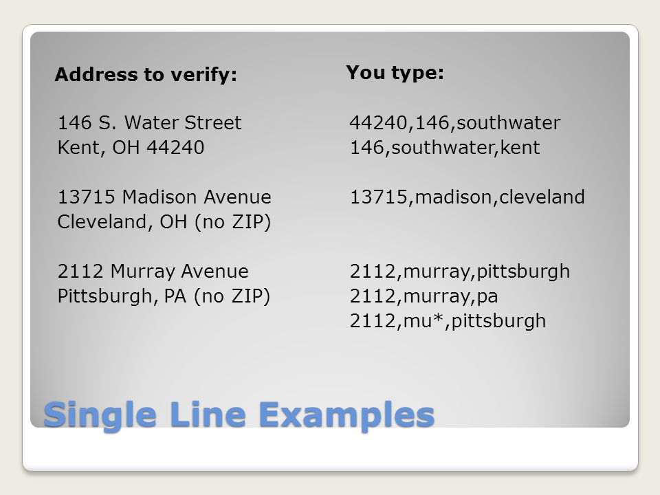 Single Line Examples Address to verify: You type: 146 S.