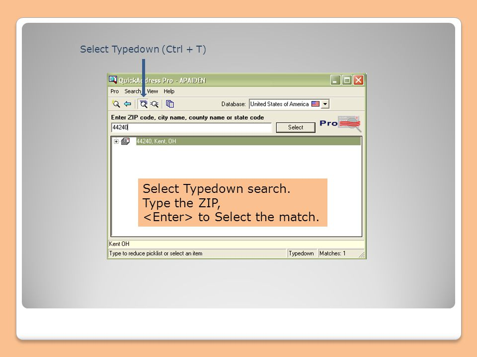 Select Typedown search. Type the ZIP, to Select the match. Select Typedown (Ctrl + T)