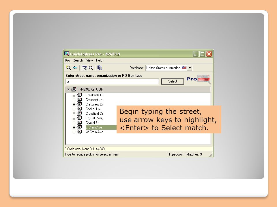 Begin typing the street, use arrow keys to highlight, to Select match.