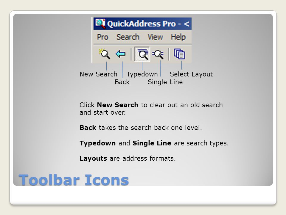 Toolbar Icons New Search Typedown Select Layout Back Single Line Click New Search to clear out an old search and start over.