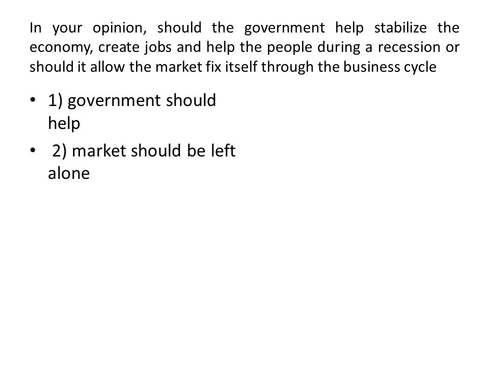 THE DEBATE The Business cycle, or the regular ebbs and flows of the market are naturally occurring.