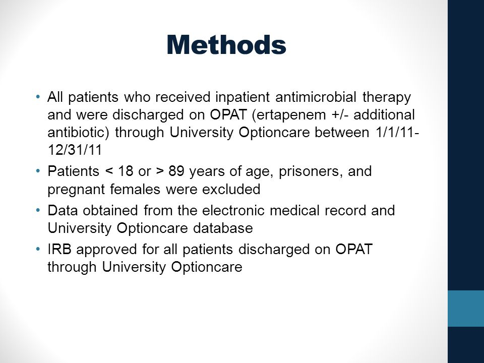 Methods All patients who received inpatient antimicrobial therapy and were discharged on OPAT (ertapenem +/- additional antibiotic) through University Optioncare between 1/1/11- 12/31/11 Patients 89 years of age, prisoners, and pregnant females were excluded Data obtained from the electronic medical record and University Optioncare database IRB approved for all patients discharged on OPAT through University Optioncare