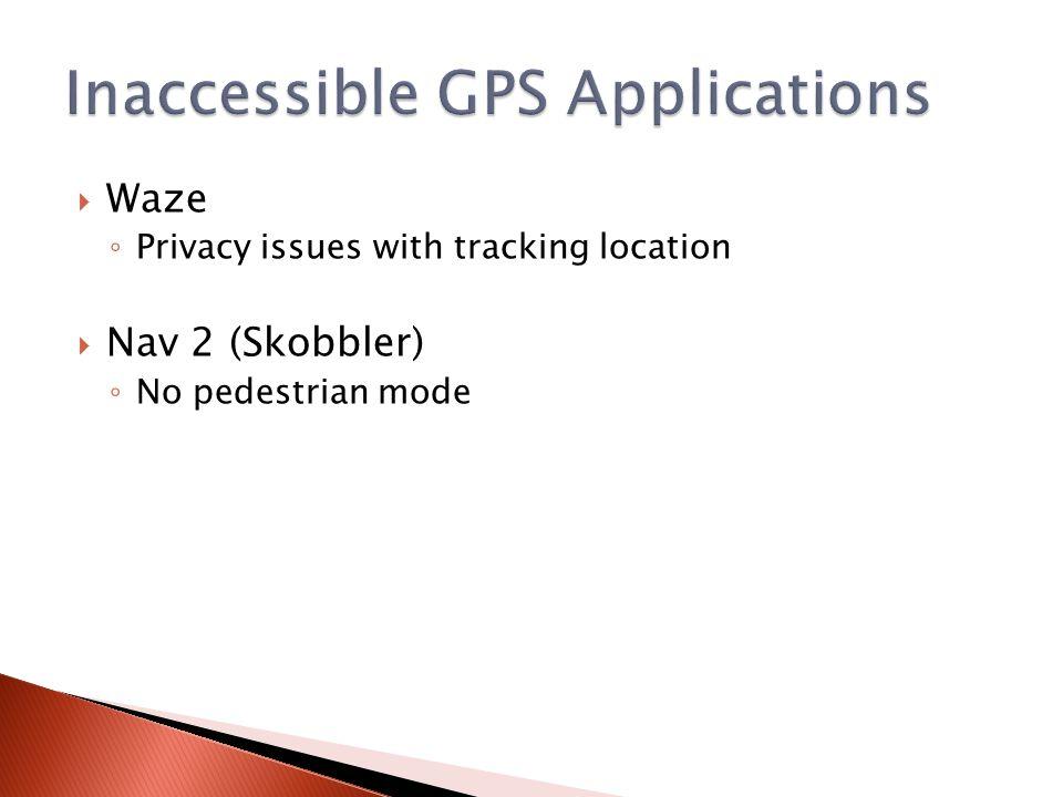  Waze ◦ Privacy issues with tracking location  Nav 2 (Skobbler) ◦ No pedestrian mode