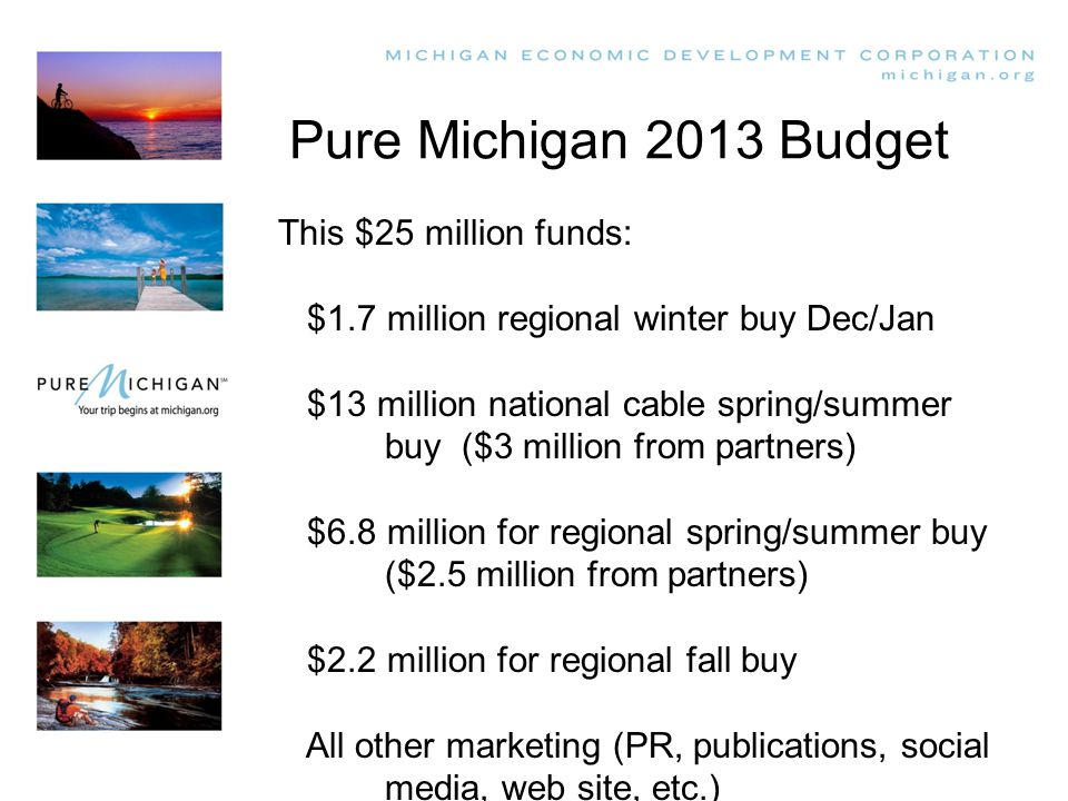Pure Michigan 2013 Budget This $25 million funds: $1.7 million regional winter buy Dec/Jan $13 million national cable spring/summer buy ($3 million from partners) $6.8 million for regional spring/summer buy ($2.5 million from partners) $2.2 million for regional fall buy All other marketing (PR, publications, social media, web site, etc.)