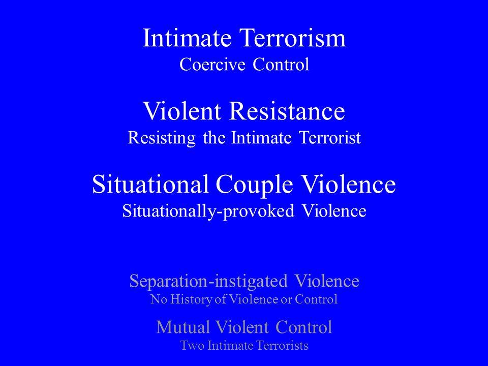 Domestic Violence/Intimate Terrorism Two major subtypes: (a) Emotionally dependent; (b) Antisocial