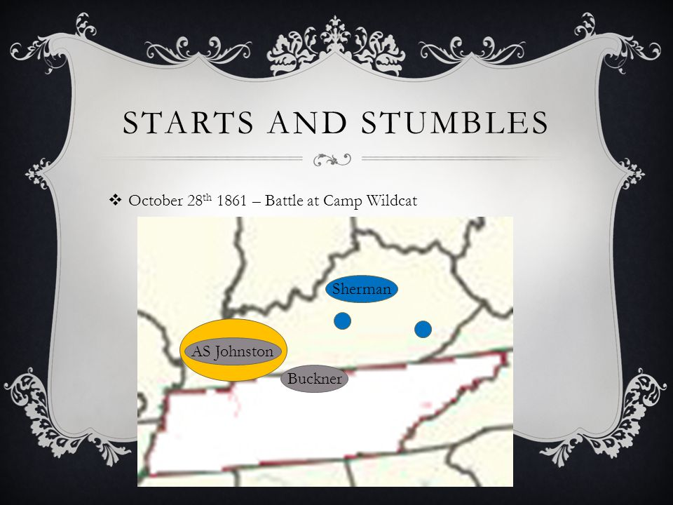 STARTS AND STUMBLES  October 28 th 1861 – Battle at Camp Wildcat Sherman Buckner AS Johnston