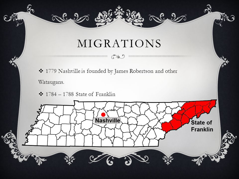 MIGRATIONS  1779 Nashville is founded by James Robertson and other Wataugans.