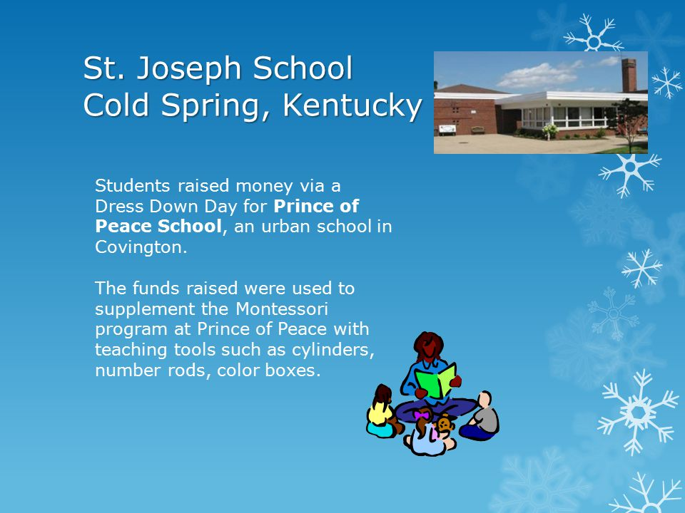 St. John School Delphos, Ohio Delphos Community Christmas Project $2000 raised 414 children received toys & clothes 137 neighbors received fruit plate