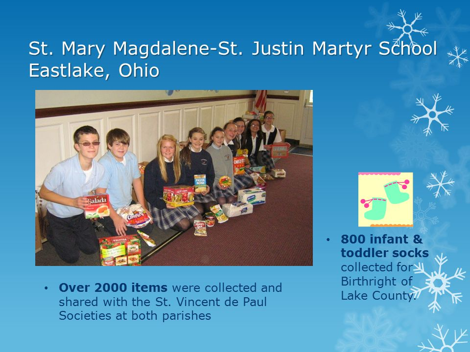 """St. Jude Catholic School Fort Wayne, Indiana Chose to support The Troops this year through an organization called """"Blue Star Mothers"""" Collected person"""
