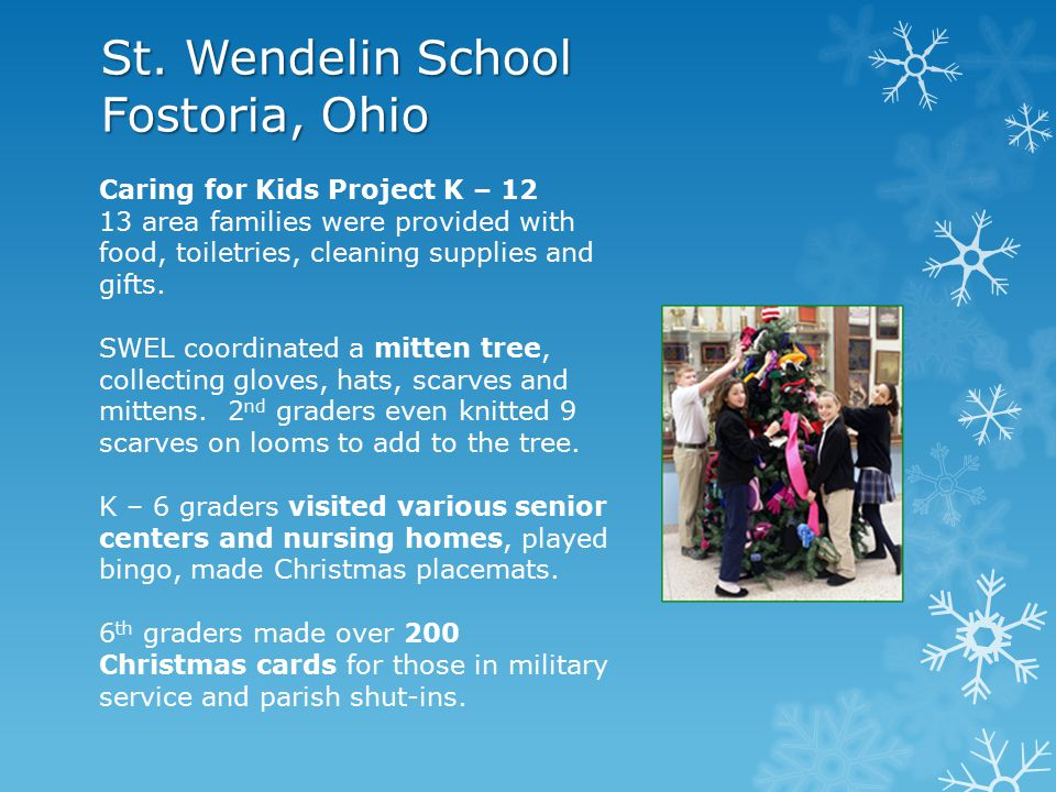 St. Peter School North Ridgeville, Ohio For two families in the parish who had recent serious illness issues and a parent death: St. Peter students wo