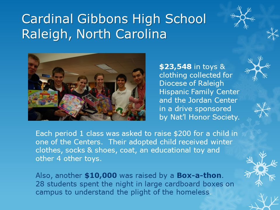 Notre Dame-Cathedral Latin School Chardon, Ohio Metro Catholic School Provided 35 students each with $100 worth of clothing, educational items, toys Parents are given the gifts to distribute to their children Toy Drive 100 toys given to Cleveland Cavaliers & Lake Erie Monsters, Toys for Tots, Spanish migrants in Painesville Food Drive 3000 lbs.