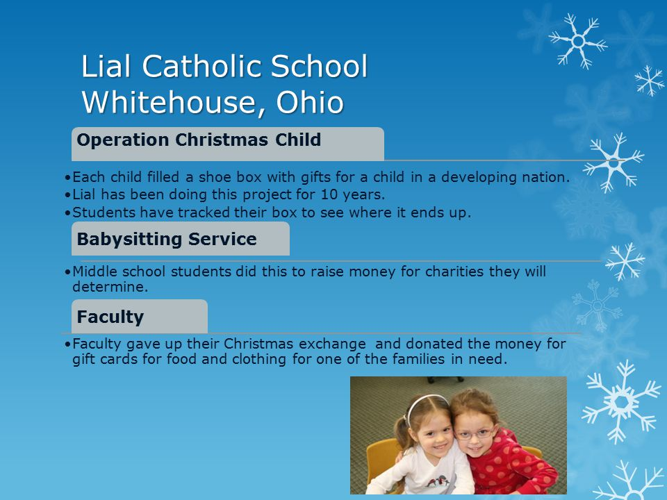 Lial Catholic School Whitehouse, Ohio Operation Christmas Child Each child filled a shoe box with gifts for a child in a developing nation.